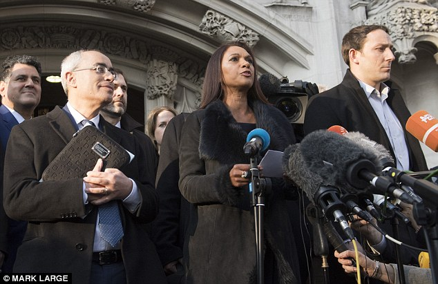 Robin Tilbrook said the case of Gina Miller (pictured centre) - who took the government to court over Article 50 and won - was a helpful precedent for his party's own legal bid