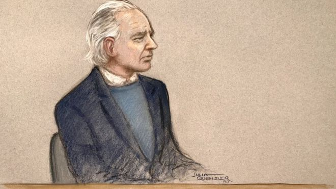 A court sketch of Julian Assange at his extradition hearing at Westminster Magistrates court