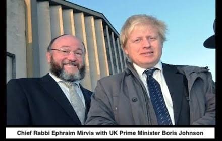 UK Chief Rabbi Ephraim Mirvis with UK far right Prime Minister Boris Johnson