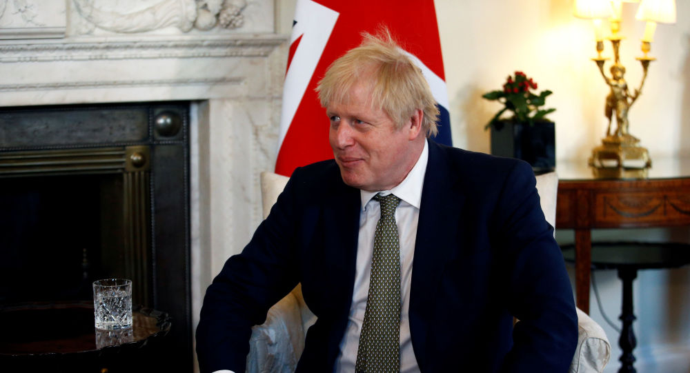 Britain's Prime Minister Boris Johnson speaks during a meeting with Egyptian President Abdel Fattah el-Sisi at 10 Downing Street in London, Britain, January 21, 2020