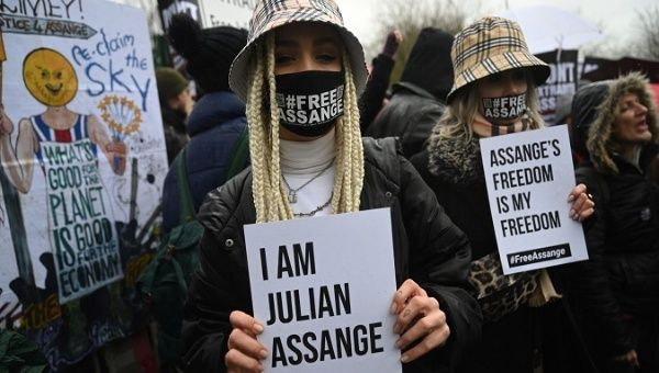 Supporters of WikiLeaks founder Julian Assange during a protest, London, UK, Feb. 24, 2020.