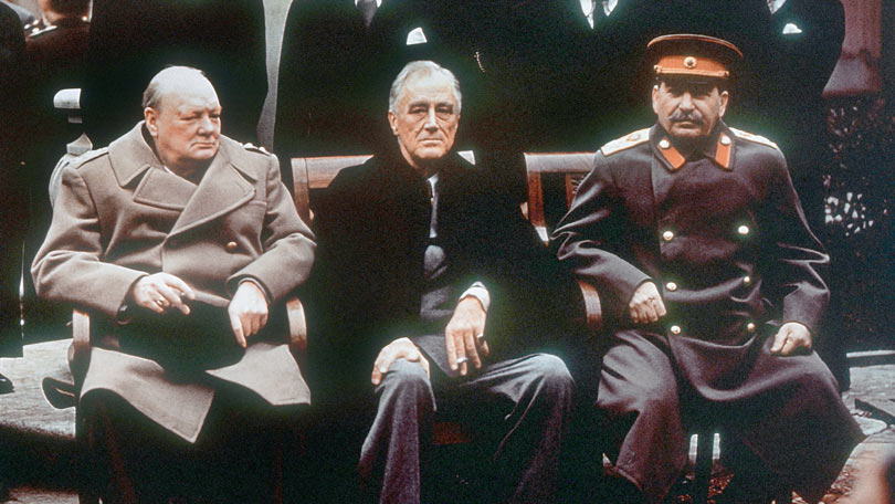 "President Roosvelt, Prime Minister Churchill and premier Stalin, at the historic ""Big Three"" conference in Yalta, February 1945"