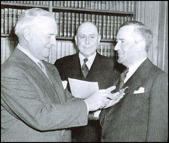 "William Stephenson is honored for his wartime service with the US ""Medal of Merit,"" presented by William Donovan at a ceremony in 1946"