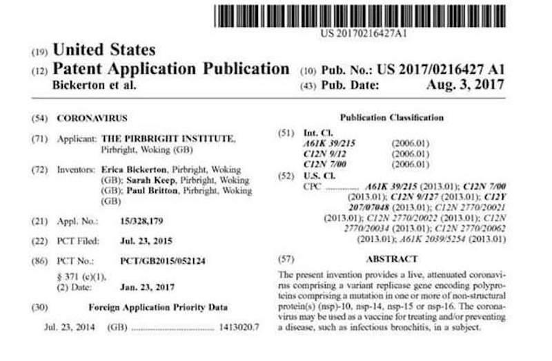 Coronavirus Patent