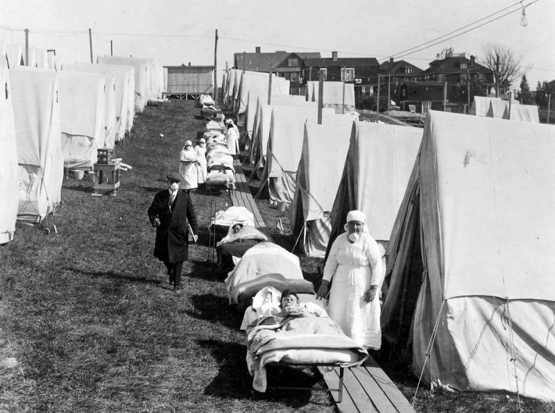 Influenza Patients Getting Sunlight At The Camp Brooks Emergency Open Air Hospital In Boston. Medical Staff Were Not Supposed To Remove Their Masks.