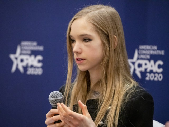 NATIONAL HARBOR, MD - FEBRUARY 28: Naomi Seibt, a 19 year old climate change skeptic and self proclaimed climate realist, speaks during a workshop at the Conservative Political Action Conference 2020 (CPAC) hosted by the American Conservative Union on February 28, 2020 in National Harbor, MD. (Photo by Samuel Corum/Getty …