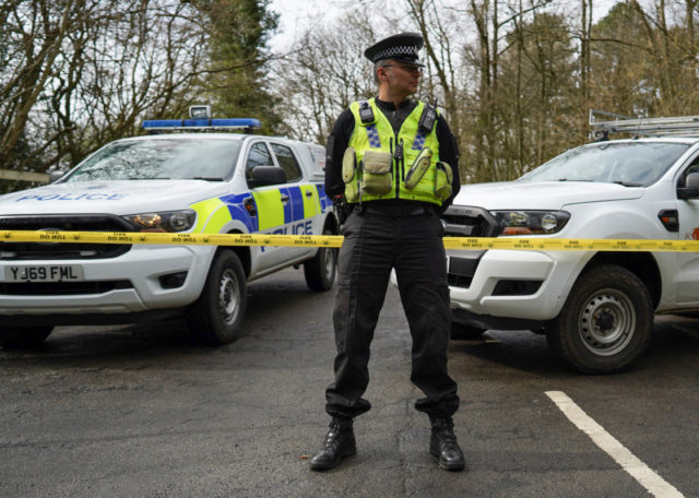 AYSGARTH FALLS, UNITED KINGDOM - MARCH 28: Police Officers from North Yorkshire Police and Park Rangers from the Dales National Park reinforce the importance of social distancing and staying at home at the Aysgarth Falls National Park Visitor Centre which is closed to the public as the UK adjusts to …