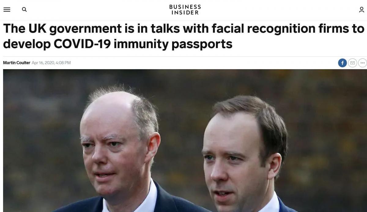 April 16th headline in Business Insider. Chris Whitty with UK Health Secretary, Matt Hancock.