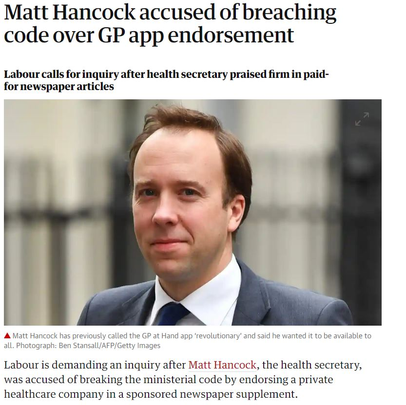 Matt Hancock accused of breaking ministerial code by endorsing a private healthcare company.