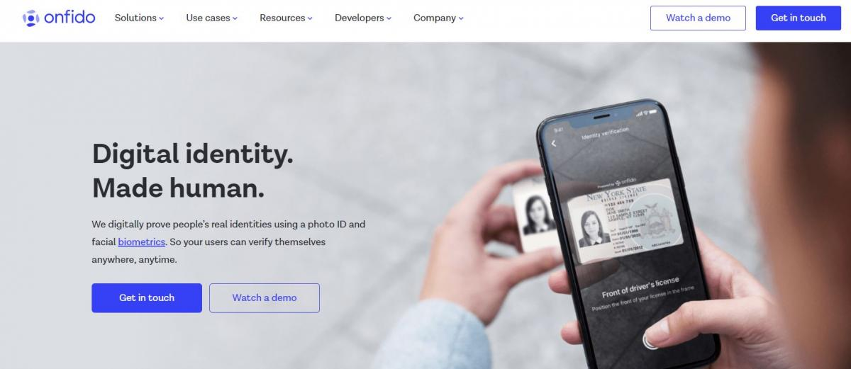 Onfido's track and trace app, under serious consideration by the UK Government.