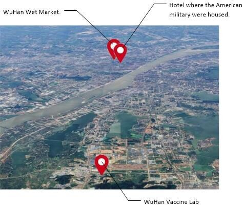 Relative locations of the Wuhan vaccine lab, and where the American soldiers stayed, relative to the Wuhan wet market.