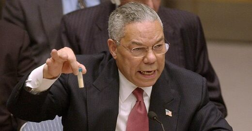 Colin Powell presenting a vial of anthrax at the UN