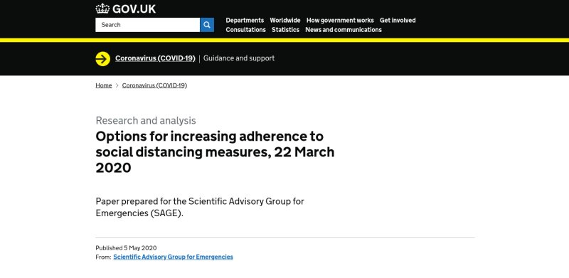 Research and analysis: Options for increasing adherence to social distancing measures, 22 March 2020