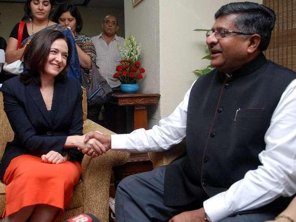 Ms Sheryl Sandberg, COO, Facebook meeting Ravi Shankar Prasad